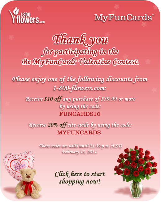 Be MyFunCards Valentine Trivia Contest Coupon