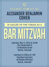 Antique Blue Bar Mitzvah